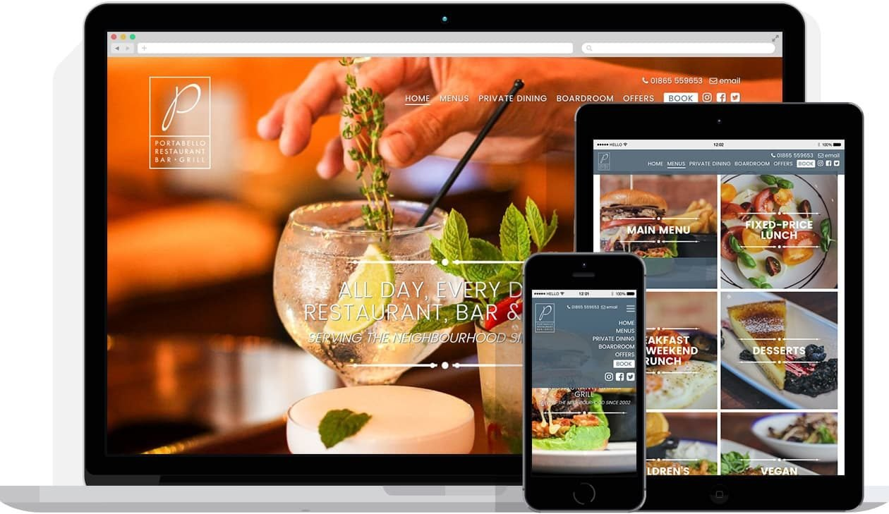 Web Design by Hello Design for Portabello Restaurant