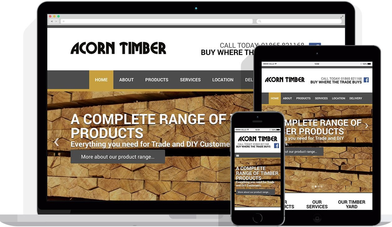 Web Design by Hello Design for Acorn Timber