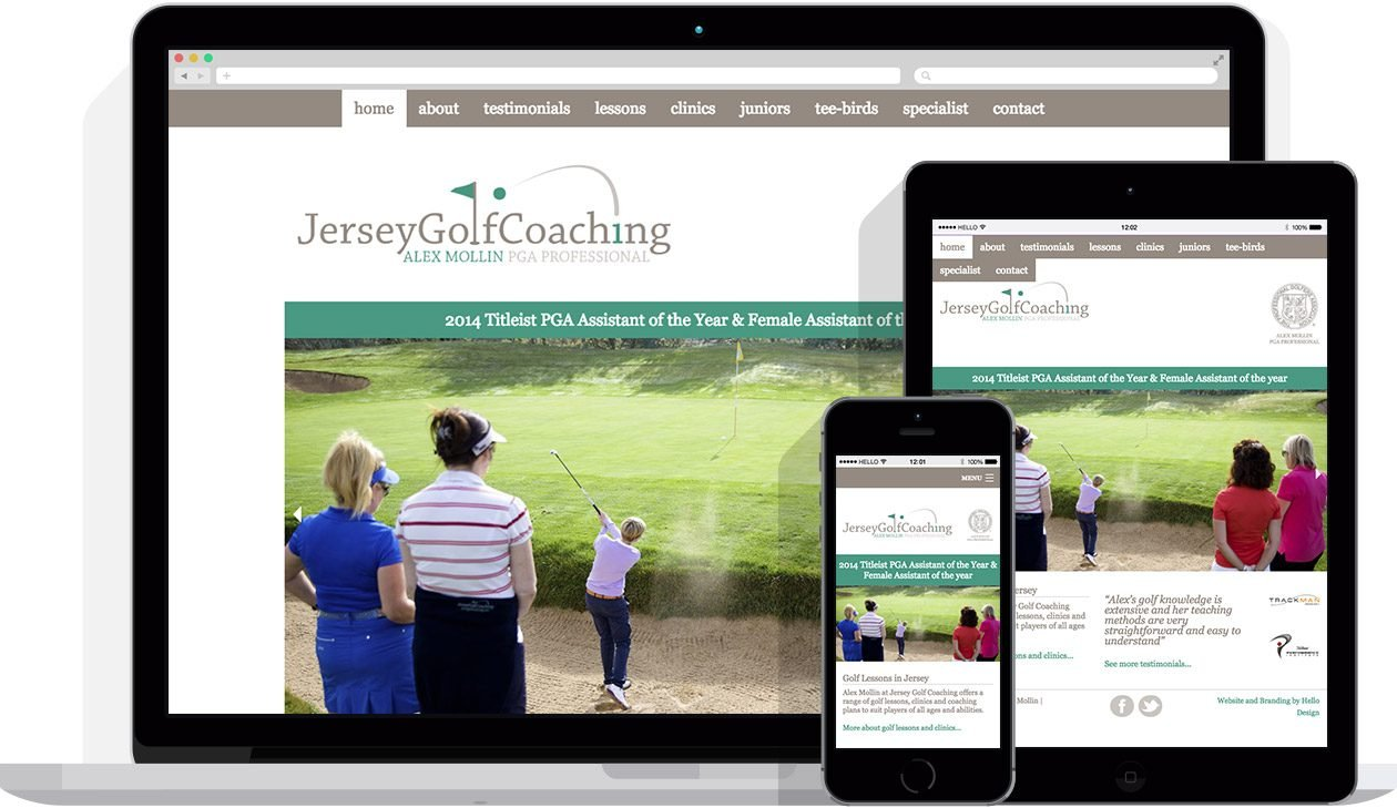 Web Design by Hello Design for Jersey Golf Coaching