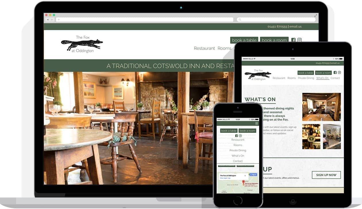 Web Design by Hello Design for The Fox at Oddington