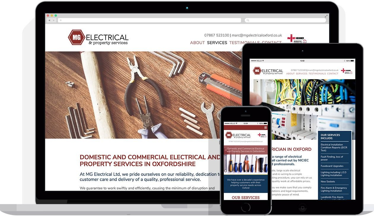 Web Design by Hello Design for MG Electrical Oxford